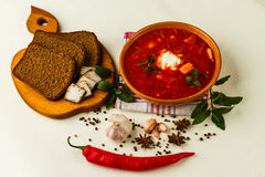 Ukrainian borsch with chili pepper and garlic Royalty Free Stock Images