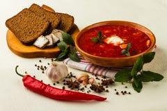 Ukrainian borsch with chili pepper and garlic Stock Photos