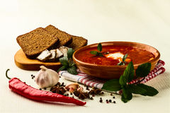 Ukrainian borsch with chili pepper and garlic Royalty Free Stock Photography