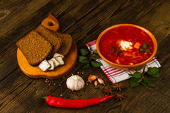Ukrainian borsch with chili pepper and garlic Stock Photos