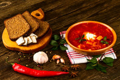 Ukrainian borsch with chili pepper and garlic Royalty Free Stock Image