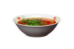 Ukrainian borsch with greens on a white Stock Images