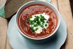 Ukrainian borsch. National Ukrainian dish - borsch, soup with cabbage Stock Photos