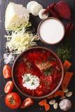 Ukrainian borsch soup with ingredients on slate closeup. vertica Stock Image