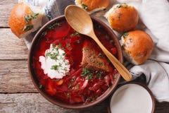 Ukrainian borsch soup with sour cream close-up. horizontal top v Stock Image