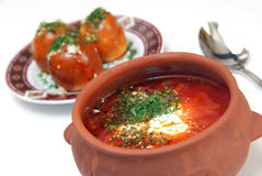 The Ukrainian borsch with sour cream Royalty Free Stock Images