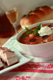 Ukrainian borsch with sour cream Stock Photos