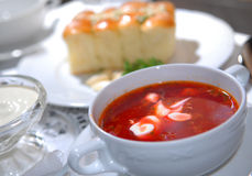 The Ukrainian borsch with sour cream Royalty Free Stock Photo