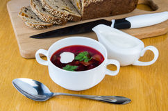 Ukrainian borsch with sour cream Stock Photography