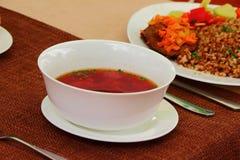 Ukrainian borsch. On the table in a plate is the Ukrainian borsch Royalty Free Stock Images