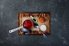 Ukrainian borsch with tomato, beetroot and brioche. stock photo