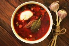 Ukrainian Borsch. Traditional ukrainian red borsch soup Stock Images
