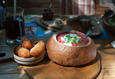 Ukrainian borscht in bread Stock Photos