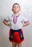 Ukrainian boy proud to wear traditional costume Royalty Free Stock Photography