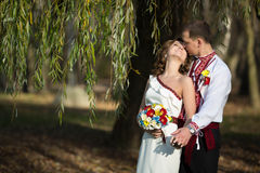 Ukrainian brides in traditional costumes embroidered shirts outdoors Royalty Free Stock Image