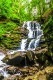 Ukrainian Carpathian Mountains 03. Shypit Forest Rock Waterfall Frontal View in the Ukrainian Carpathian Mountains stock photography