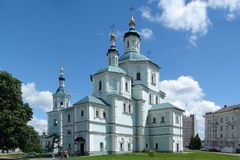 Ukrainian Cathedral Church in city of Sumy. St. Voskresensky Cathedral Church in Ukrainian city of Sumy Royalty Free Stock Photo