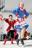 Ukrainian children. Unidentified 12 years old Ukrainian children in traditional costume perform folk dance on National Sovereignty and Children Day festival Stock Photography