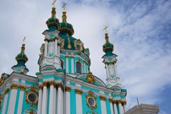 Ukrainian, Christian, St. Andrew`s Church. Ukrainian, Christian, Andreevskaya church, historical center of Kiev, Andreevskyi st Royalty Free Stock Images