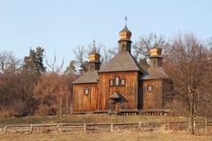 Ukrainian Christian wooden temple. Pirogovo museum. Stock Image
