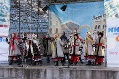 Ukrainian Christmas carols. Photo Ukrainian folk dance group. Christmas holidays royalty free stock images