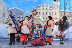 Ukrainian Christmas carols. Photo Ukrainian folk dance group. Christmas holidays stock photography