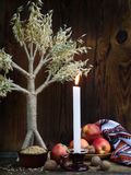 Ukrainian Christmas concept for greeting card. Composition of xmas symbol didukh, burning candle, apples, walnuts, wheat on wooden Royalty Free Stock Photography