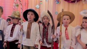 Ukrainian Christmas kindergartens stock video footage