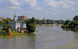 Ukrainian church near river in summer Royalty Free Stock Photos