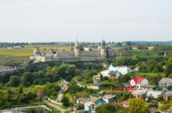Ukrainian city with a medieval fortress Stock Photo
