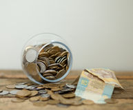 Ukrainian coins and hryvnas shows poverty Stock Images