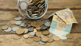 Ukrainian coins and hryvnas shows poverty Royalty Free Stock Photography