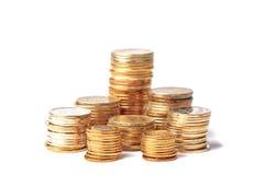 Ukrainian coins. Isolated on white background Royalty Free Stock Photo