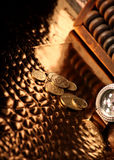 Ukrainian coins, luxury clock and abacus Royalty Free Stock Image