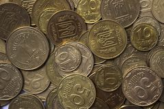 Ukrainian coins, many money - hryvnia and a penny, background royalty free stock images