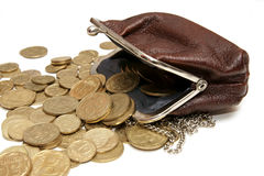 Ukrainian coins in pouch royalty free stock photography