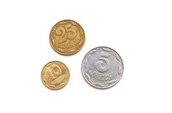Ukrainian coins on a white background Royalty Free Stock Images