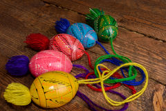 Ukrainian colored Easter eggs with ornaments on a wooden background Royalty Free Stock Photography