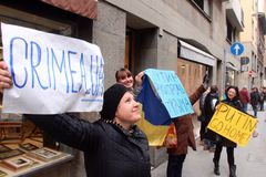 Ukrainian community protest against Putin Stock Photo