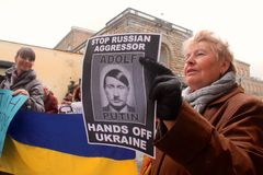 Ukrainian community protest against Putin Royalty Free Stock Images
