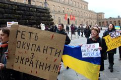Ukrainian community protest against Putin Royalty Free Stock Image
