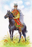 Ukrainian Cossack on a black horse Royalty Free Stock Photo