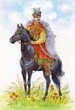 Ukrainian Cossack on a black horse. Beautiful stock illustration