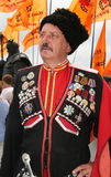 Ukrainian cossack general 3. Ukrainian cossack general under wooden church Royalty Free Stock Photography
