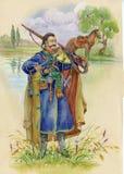 Ukrainian Cossack horse around, watercolor. Beautiful stock illustration