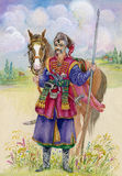 Ukrainian Cossack horse around, watercolor Stock Images