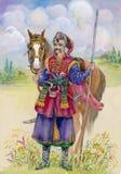 Ukrainian Cossack horse around, watercolor. Beautiful vector illustration