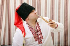 Ukrainian Cossack in national clothes Royalty Free Stock Photography