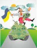 Ukrainian Cossack on the tank Stock Photography