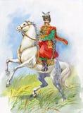 Ukrainian Cossack on a white horse. Beautiful royalty free illustration